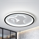 Animal Black/White Flush Ceiling Light Kitty Acrylic Ceiling Lamp in Warm/White for Kid Bedroom