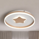 Cute Champagne/White Ceiling Fixture with Star Third Gear/Warm/White LED Ceiling Mount Light for Nursing Room