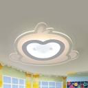 Money Boys Bedroom Flush Ceiling Light Acrylic Modern LED Ceiling Lamp in Warm/White