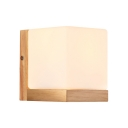 Bedroom Wall Light Beside Table Frosted Glass Shade with Nature Rubber Wood Base