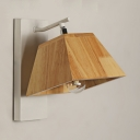 Modern Wall Light for Bedroom Hallway Rubber Wood Shade White Finish Light Fixture in Modern Style