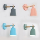 Metal Bucket Sconce Light Bedroom Rotatable 1 Head Macaron Loft LED Wall Light in Blue/Gray/Green/Pink