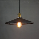 One Light Conical Shade Suspension Light with Pulley Industrial Metal Hanging Lamp in Black for Shop