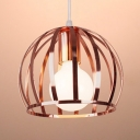 Creative Watermelon Cage Hanging Light 1 Light Metal Suspension Light in Rose Gold for Bedroom