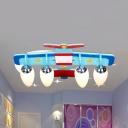 Sky Blue Propeller Airplane Ceiling Lamp Four Lights Modern Milk Glass Ceiling Mount Light for Boy Bedroom