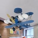 Metal Propeller Airplane Ceiling Lamp Four Heads Modern Cartoon Semi Flushmount Light in Blue for Teen