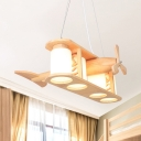 Kids Beige Pendant Light Propeller Airplane 4 Heads Wood Hanging Light with Cylinder Shade for Study Room