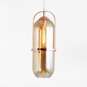 Single Light Capsule Pendant Light Simple Stylish Glass Hanging Light in Rose Gold for Bathroom Kitchen