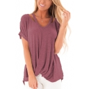 Fashion Simple Plain Cutout Short Sleeve V-Neck Twist Hem Loose Fit T-Shirt