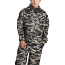 Trendy Camo Pattern Hooded Long Sleeve Dust-Proof Breathable Green Workwear Mechanic Coveralls