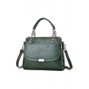 Simple Fashion Solid Color Soft Leather Satchel Handbag for Women 32*24*13 CM