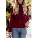 Womens Fashion Simple Plain High Neck Long Sleeve Pleated Slim Fit Burgundy Chiffon Top