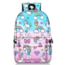 Lovely Trendy Cartoon Rainbow Unicorn Printed School Bag Backpack 28*14*47 CM