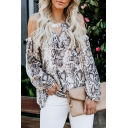 Womens Sexy Cutout V-Neck Cold Shoulder Long Sleeve Snake Skin Print Chiffon Blouse Top