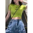 Summer Girls Fashion Round Neck Short Sleeve Drawstring Ruched Side Slim Fit Crop T-Shirt