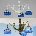 Bedroom Cafe Dome Chandelier with Mermaid Glass 3 Lights Tiffany Style Aged Brass/White Hanging Lamp