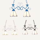 Glass Cone Pendant Light 2 Lights Tiffany Style Chandelier in Black/Blue/White for Kitchen