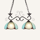 Tiffany Style Hanging Lighting Dome Shade 2 Lights Glass Metal Chandelier for Bedroom Balcony
