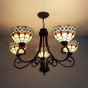 5 Lights Dome Pendant Lamp Tiffany Style Stained Glass Chandelier for Living Room Hotel