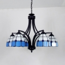 Blue/Yellow Pendant Lamp 6 Lights Tiffany Style Stained Glass Chandelier for Bedroom Hotel