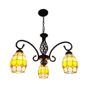 Tiffany Style Rustic Brown Chandelier 3 Lights Stained Glass Metal Hanging Lamp for Shop Bar