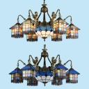 Living Room House Chandelier Stained Glass 9 Lights Tiffany Style Antique Pendant Lamp with Mermaid