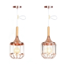 Industrial Caged Pendant Light with/without Crystal 1 Light Metal Hanging Lamp for Cafe Bar