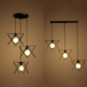 3 Lights Triangle Hanging Lamp Industrial Metal Ceiling Fixture with Linear/Round Canopy for Cafe