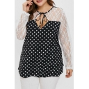 Women's Plus Size Black and White Polka Dot Printed Lace Patched Bow Tie Cut Out Round Neck Long Sleeve Tee