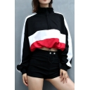 Chic Stylish Colorblock Zipper Front High Neck Long Sleeve Drawstring Hem Loose Fit Cropped Sweatshirt for Women