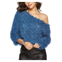 Sexy One Shoulder Round Neck Long Sleeve Plain Hairy Tassel Sweatshirt