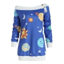 New Stylish Galaxy Sun Star Moon Print Contrast Trim Button Detail Skew Boat Neck Long Sleeve Sweatshirt