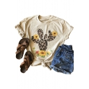 Summer Lovely Round Neck Short Sleeve Cactus Floral Print Beige T-Shirt For Women