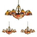 Tiffany Style Rustic Suspension Light with Dragonfly/Circle/Sunflower 11 Lights Stained Glass Chandelier for Hotel