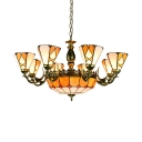 Glass Cone Dome Pendant Light Living Room 11 Lights Tiffany Style Vintage Chandelier in Yellow