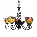 Villa Hotel Dragonfly Pendant Light Stained Glass 5 Lights Tiffany Style Rustic Chandelier