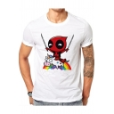 Men's Lovely Short Sleeve Round Neck Rainbow Unicorn Cartoon Print White Cotton T-Shirt