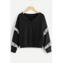 Black V-Neck Ruffle Trim Long Sleeve Plain Pullover Sweatshirt
