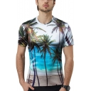 Summer Cool Short Sleeve Round Neck Tropical Coconut Print White Unisex White T-Shirt