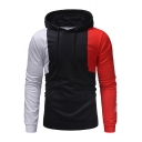 Mens Colorblock Patched Long Sleeve Letter Regular Fitted Hoodie