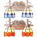 Tiffany Style Dome Wall Light 2 Lights Glass Metal Sconce Light in Blue/Orange for Bathroom
