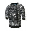 Men's Casual Letter SHARE Floral Printed Black Long Sleeve Round Neck Pullover Sweatshirt