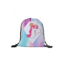 New Collection Unicorn Printed Pink Storage Bag Drawstring Backpack 33*39 CM