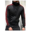 Men's Fashion Plain Colorbock Long Sleeve High Neck Button-Front Sweatshirt