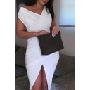 Womens Basic Simple Solid Color Surplice V-Neck Sleeveless Asymmetrical Midi Bodycon White Dress