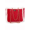 Chic Diamond Quilted Contrast Edge Shoulder Tote Bag for Women
