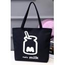 Fashion Letter Bottle Printed Black Canvas School Shoulder Bag 33*8*40 CM
