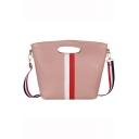 Stylish Color Block Stripe Patched Crossbody Shoulder Bag Handbag 32*8*25 CM