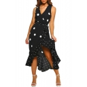 Stylish Sleeveless V-Neck Polka Dot Print Tie Waist Midi Asymmetric Black Dress For Women