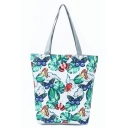 Fashion Creative Butterfly Leaves Printed Green School Shoulder Bag 27*11*38 CM